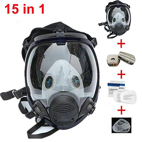 Muhubaih 15in1 Full Face Large Size Dust Mask & Accessories (Respirator Mask + Cotton Filter + Filter Cartridge + Filter Cover),Widely Used in Organic Gas,Paint spary, Chemical,Woodworking (15in1)