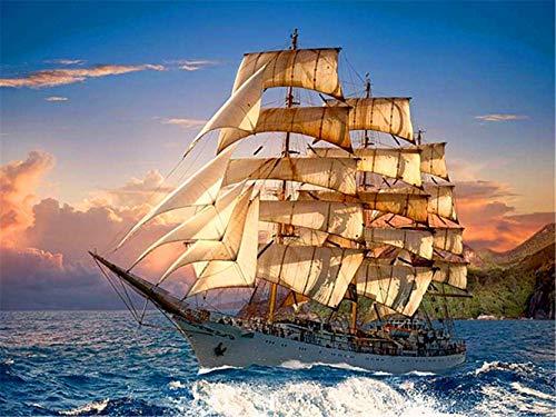 5D-Diamant-Malerei-Set für Erwachsene und Kinder, mit weißem Segelboot, Diamant-Kunsthandwerk, Strass-Stickerei, Kreuzstich, für Zuhause, Wanddekoration, runde Diamanten, 45 x 60 cm