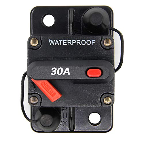 ZOOKOTO Manual Reset 30A Circuit Breaker Fuse Holder for Motor Auto Car Marine Boat Bike Stereo Audio Waterproof