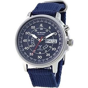 [ラドウェザー] 電波ソーラー腕時計 メンズ 100m防水 腕時計 lad017 (ネイビー)