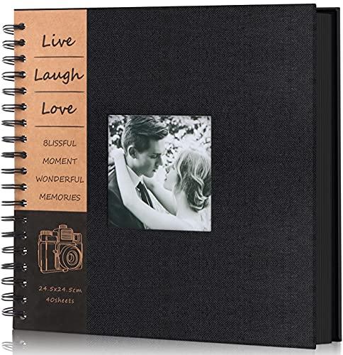 Adkwse DIY Scrapbook Album 80 Pages Linen Hardcover Photo Album Black Page with Scrapbook Kit Anniversary Wedding Family Baby Vacation Photo Album(Black)
