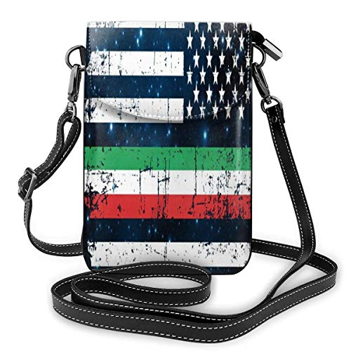 Cell Phone Purse Italian American Thin Line Flag Phone Wallet 3D Printed Vivid Card Holder Tiny Bag Durable PU Leather Passport Purse Wallet With Strap For Outdoor Travel