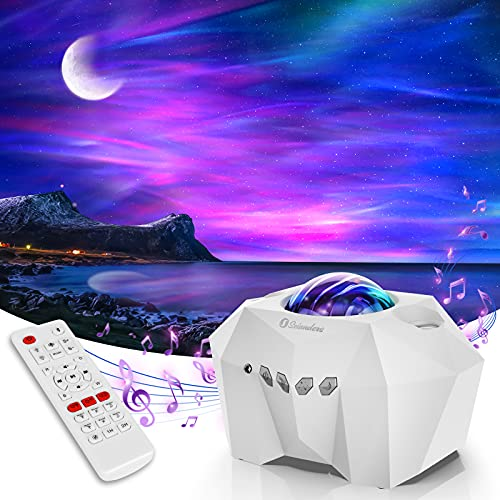 Aurora Star Lights Projector, Galaxy Lights Projector with Remote Control, Night Sky Light Projector for Bedroom,Build-in Bluetooth Hi-Fi Stereo Music Speaker,Room Decor for Bedroom/Party/Home (White)