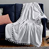Bedsure Fleece Throw Blanket Pom Pom Blankets - Light Grey Throw Blanket for Couch - Cute Cozy Plush Throw Blanket (Light Grey , 50' x 60')