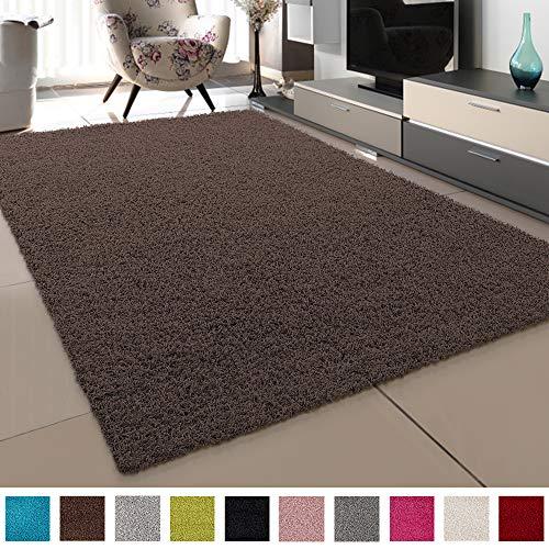 SANAT Teppich Wohnzimmer - Dunkelbraun Hochflor Langflor Teppiche Modern, Größe: 120x170 cm
