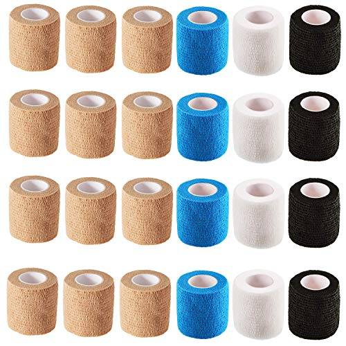 Self Adherent Wrap Bandages (24 Count)2 Inches X 5 Yards,First Aid Tape, Elastic Self Adhesive Tape, Sports wrap Tape, Bandage Wrap for Sports, Wrist, Ankle (Tan×12,Blue×4,White×4,Black×4) …