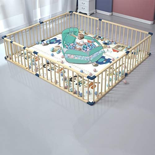 CYLQ De Madera Corralitos para Bebes Parque Infantil del Bebé, Niños 8 Paneles Casa Interior Al Aire Libre Baby Walkers and Activity Center Versátil Color De Madera El 180 * 250cm