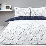 Sleepdown - Set di biancheria da letto con mini pois, reversibile, facile da pulire, con federe, super king size (220 x 260 cm)