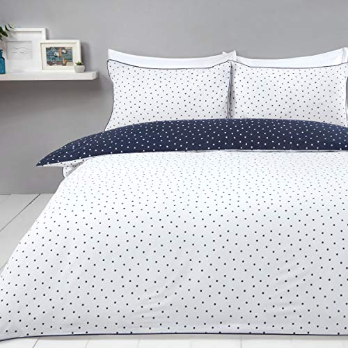 Sleepdown Mini Polka Dots Navy White Reversible Easy Care Duvet Cover Quilt Bedding Set with Pillowcases - Double (200cm x 200cm)
