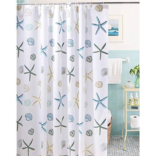 Meiosuns Duschvorhang aus PEVA, wasser- und schimmelresistent, für Badezimmer, Duschvorhänge, mit rostfreien Ösen und Vorhanghaken, Weiß, plastik, Starfish and Seashells, 72'' x 86''