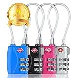 Candado TSA Combinacion con Cable Acero Flexible Antirobo Maleta - Combinación 3 Digitos. Cerradura para Funda Maletas de Viaje, Caja Herramientas, Taquillas Vestuario, Locker(4 colores)