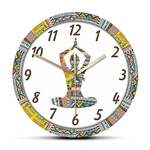 hufeng Reloj de Pared Yoga Mujer con patrón Decorativo étnico Movimiento silencioso Reloj de Pared Mandala Meditación Deporte Reloj Colgante de Pared de acrílico Grande