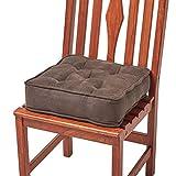 Homescapes orthopädisches Sitzkissen 40 x 40 x 10 cm – extra hoch, mit Bändern, Veloursbezug – Sitzerhöhung/Aufstehhilfe, Schokobraun