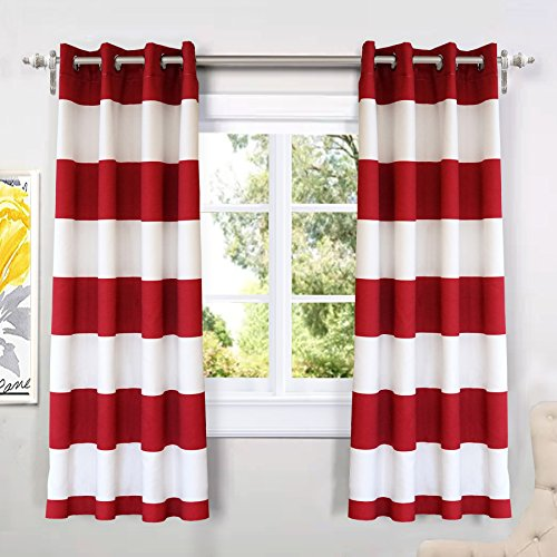 DriftAway Mia Stripe Room Darkening Grommet Unlined Window Curtains 2 Panels Each 52 Inch by 63 Inch Red