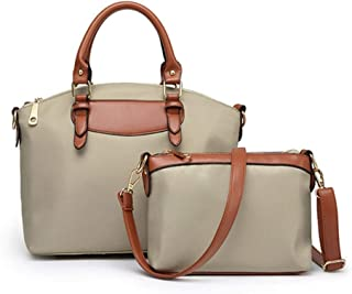 Set Handbags Handbag Women Shoulder Bag 2 Pcs Spring Summer Autumn And Winter Handbag (Color : Khaki)