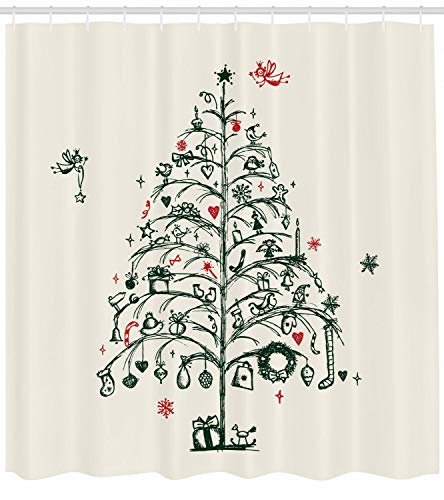 Weihnachts-Duschvorhang-Baum & Feen-Druck für Badezimmer