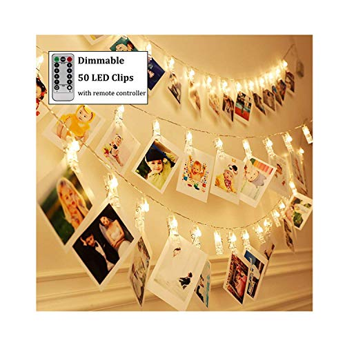 Dimmable 50 LED Photo Clips String Lights Holder with Remote & Timer Function, Home/Party/Christmas Decor Lights for Hanging Photos Pictures, Memos and Artwork, Warm White