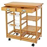 Nova Microdermabrasion Rolling Wood Kitchen Island Storage Trolley Utility Cart Rack w/Storage...