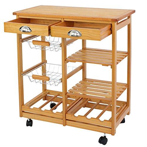 Nova Microdermabrasion Rolling Wood Kitchen Island Storage Trolley Utility Cart Rack w Storage Drawers Baskets Dining Stand w Wheels Countertop (Wood) (Wood Top)
