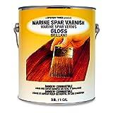 System Three 1850S24 Clear Marine Spar Urethane Varnish Coating, Gloss, 1 gal Can