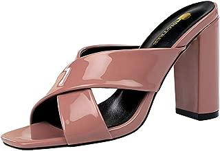 ELEEMEE Women Fashion Summer Shoes Block High Heels Mules Sandals