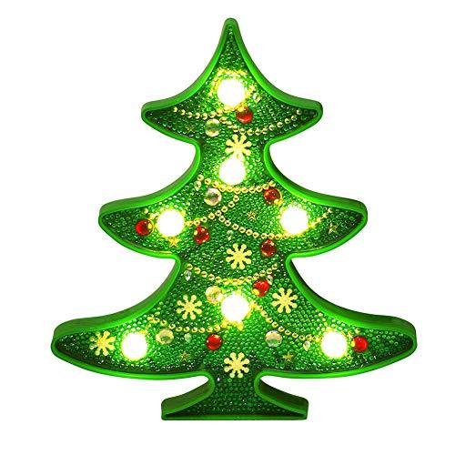 Jinclonder Kerstboom sneeuwman nachtlampje, DIY diamant schilderij nachtlampje voor Kerstmis bruiloft decoratie verjaardagen festivals geschenken