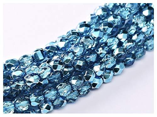 Fire Polished Beads 100 PCS Perline tonde sfaccettate lucidate a Fuoco 3mm, Azzurro Metallico, Vetro Ceco