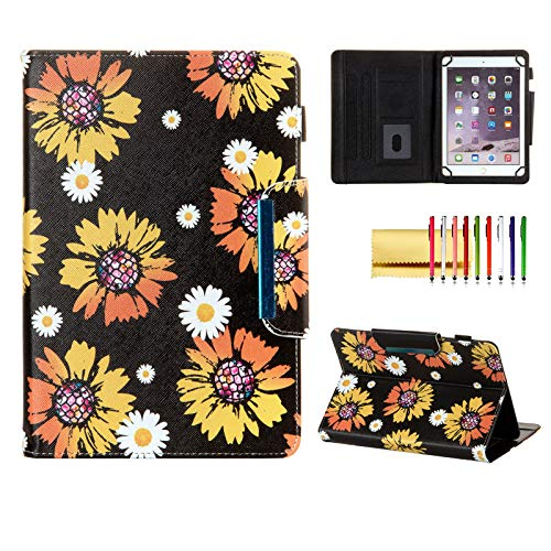 Universal Case for 9.6'-10.5' Tablet, Techcircle Light Stand Folio Magnetic Cover Case for Galaxy Tab S3/S4/S6/Tab 10.1 9.6/iPad Pro 9.7/iPad Air 9.7 & Most 10-inch Tablet Computers, Sunflowers