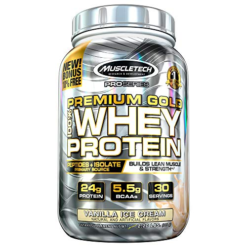 Protein Powder | MuscleTech Premium Gold 100% Whey Protein Powder | Whey Protein Isolate & Peptides...