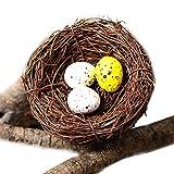 Artificial Bird Nest, Bird Nest with Artificial Bird Eggs, Country Style Simulation Twig Bird Nest for Handmade Easter Rattan Nest Creative Decoration for Home Garden(10~12 cm)