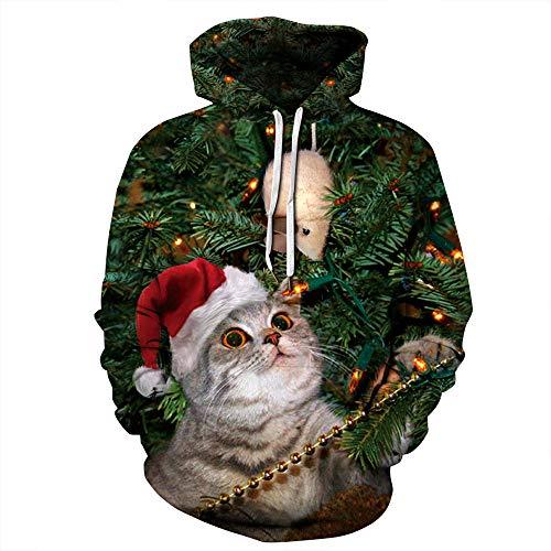 Discovery Pull à capuche pour femme Motif chat de Noël 3XL - - XXL/3XL
