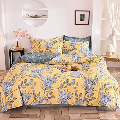 JLU Moroccan Style Duvet Cover Sets Flower Series Bedding Set Double Reversab Duvet Set With Zipper Closure King 4pcs,B-2.0m bed