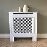 Cubierta para radiador Jack Stonehouse, de madera MDF, pintada en color blanco, con diseño de diamante, tamaño Mini