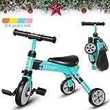 XJD 2 en 1 Vélo Bébé Tricycle Enfants de 2-4 Ans Draisienne Fille garçons Premier Vélo Pliable Léger 3 Roues avec Pédale Cadeau Noël