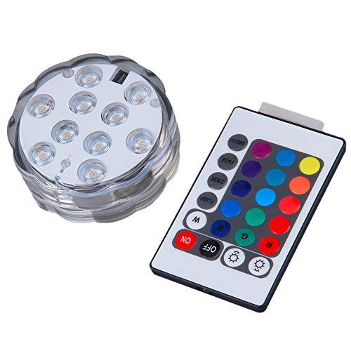 Ueasy 水中ledライト 10灯 16色 LED水中ライト 潜水ライト リモコンで操作 光るライト マルチカラー/照明/防水/サブマリンライト/LEDコースター/コースター/RGB/潜水/防雨/水槽照明ledライト/水族館照明 [並行輸入品]