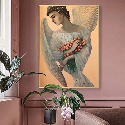 Angel alas Blancas y Flores_1000pcs_Wooden Puzzle Puzzle_Juego de Rompecabezas Educativo Juguetes ensamblados imágenes de paisajes Rompecabezas para Adultos Regalos para niños_50X75CM