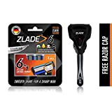 Zlade 6 Blade Viper Motion Shaving Razor For Men (Titanium and Diamond Coated Blades Made in Germany) - 1 Razor Handle + Pack of 4 Cartridges + 1 Free Razor Cap