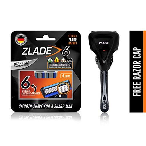 Zlade 6 Blade Viper Motion Shaving Razor For Men (Titanium and Diamond Coated Blades Made in Germany) - 1 Razor Handle + Pack of 4 Cartridges + 1 Free Razor Cap