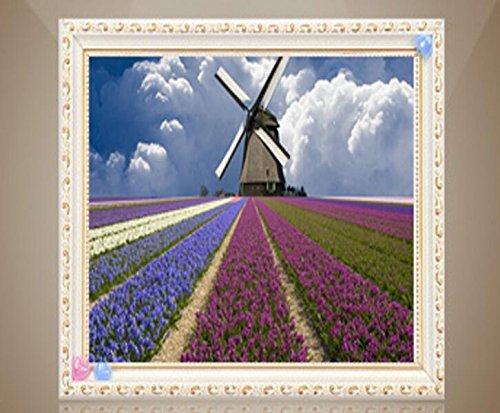 Queenlink complète Collez-le DIY carré Diamant Broderie peintures Strass Croix Fleurs Land