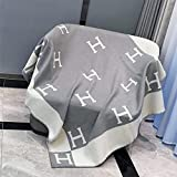 Fleece Double Sided Throw Blanket H Novelty Blanket for Your Family Beach Wool Soft and Comfortable Flannel Blanket for Adults Grey