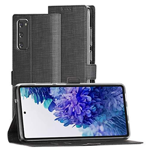 Cresee für Samsung Galaxy S20 FE / S20 FE 5G Hülle, PU Leder Handyhülle mit 2 Kartenfächer, Schutzhülle Hülle Tasche Magnetverschluss Flip Cover Stoßfest Brieftasche (Schwarz)