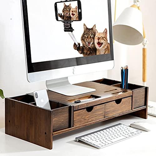 Soporte de Monitor de escritorio Riser con cajón, Monitor de bambú de 2 niveles Monitor de soporte, Estantes de escritorio universales para IMAC, impresora, computadora portátil, Xbox One, PS4
