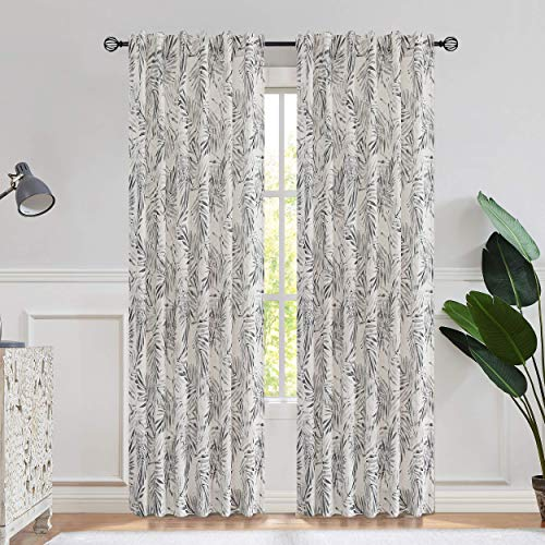 Central Park Gray Linen Leaf Palm Window Curtain Panel Print Rustic Farmhouse Drapes Rod Pocket Back Tab Semi Sheer Curtains for Living and Bedroom Modern Design, 50x95 Inches 1 Piece, Linen