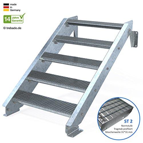 Außentreppe 5 Stufen 80 cm Laufbreite - ohne Geländer - Anstellhöhe variabel von 83 cm bis 100 cm - Gitterroststufe ST2 - feuerverzinkte Stahltreppe mit 800 mm Stufenlänge als montagefertiger Bausatz