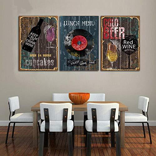 YFYW Retro canvas schilderij abstracte plaat koffie dranken foto bar muurkunst decoratie poster 50x70cmx3 stuks geen lijst