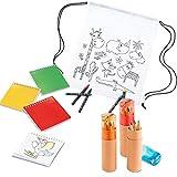 COSAS43 DETALLES PARA INVITADOS BODA-COMUNION-BAUTIZO Kit piñata cumpleaños Infantiles. Lote con 12 Tubos de lápices y sacapuntas + 12 libretas con Plantillas + 12 Mochilas con Ceras