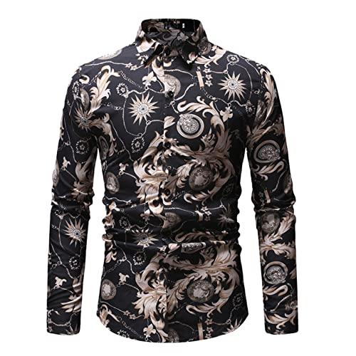 Ocuhiger Camisa De Vestir Clásica De Moda para Hombres Camisa De Negocios Informal De Ajuste Estándar Regular Slim Tops De Manga Larga con Botones Blusa Estampado Floral Negro
