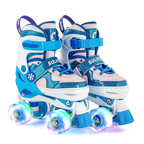 SULIFEEL Rainbow Unicorn 4 Size Adjustable Light up Roller Skates for Girls Boys for Kids (Frozen Blue, Medium(Y13-3 US))