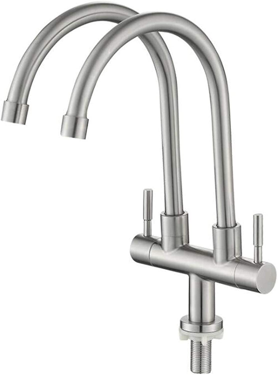 Bathroom Sink Basin Lever Mixer Tap Sus304 Stainless Steel Kitchen Double-Pipe Faucet Single 304 Vegetable Basin Faucet Sink Faucet