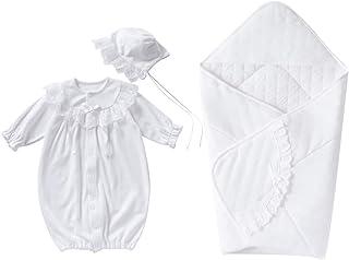 cremé de coco 3点セット オーガンジー レース セレモニー ドレス [ツーウェイオール/帽子/アフガン] 新生児 赤ちゃん [オールシーズン使用可] 日本製 50-70cm(オフホワイト)